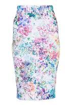 Fortune - Floral Scuba Skirt Multi-colour