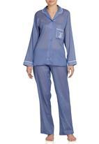 Lila Rose - Long-sleeve Revere Collar Sleepwear Blue