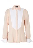 KARMA - Long-Sleeve Top With Contrast Yoke Pale Pink