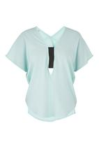 edit - V-neck elasticated blouse Turquoise