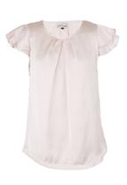 Mishah - Frilly Sleeve Blouse Pale Pink