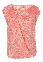 edge - Burn-out draped top Coral