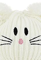 FUNKY FISH - Beanie with cat face detail and ears White