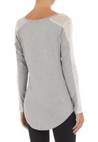 Spree Designer - Top with mesh inset Grey
