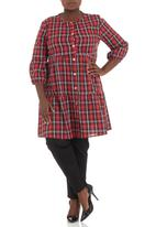 Megalo - Smocked tiered tunic Red