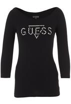 GUESS - Pearls and Diamonds logo tee Black