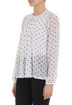 edit - Polka-dot printed chiffon pleated blouse Black/White