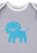 Petit Pois - Lion-print onesie Grey