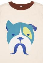 Petit Pois - Tee with bull dog print Stone/Beige