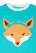 Petit Pois - Tee with fox print Turquoise