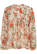 edit - Floral-printed chiffon pleated blouse Multi-colour