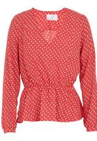 adam&eve; - V-neck long-sleeved blouse Coral