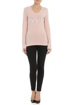 GUESS - V-neck triple triangle logo tee pale Pink