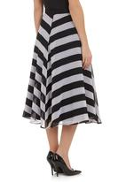 AMANDA LAIRD CHERRY - Midi mesh skirt Black/White