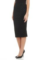 edit - Polka dot pencil skirt Black