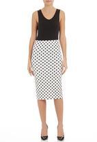 edit - Polka dot pencil skirt White