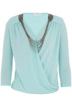 edit - Crossover blouse with neckpiece Turquoise