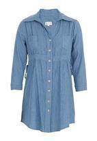 edit - Denim longer-length shirt Mid Blue