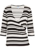 edge - Striped wrap top Black/White
