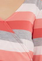 edge - Striped wrap top Coral