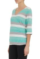edge - Striped wrap top mid Grey