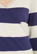 edge - Striped wrap top Navy