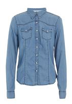 GUESS - Fitted denim shirt pale Blue