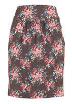 adam&eve; - Denim floral midi skirt  Multi-colour