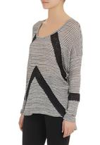SASS - Striped knit top with lace insets Black/White