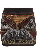 Traffic - Hand-beaded aztec mini skirt Multi-colour