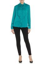 KARMA - Waterfall blouse Turquoise