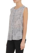 KARMA - Zeta sleeveless blouse Grey/White