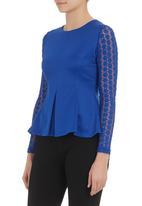 London Hub - Peplum top with lace sleeves Cobalt