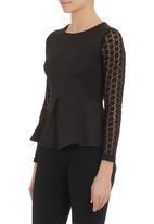 London Hub - Peplum top with lace sleeves Black