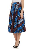 AfroDizzy - Midi skirt in African print Multi-colour