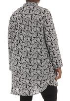 Megalo - Paisley-print tiered tunic Black/White