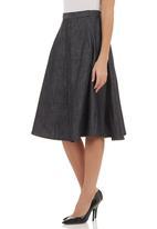 AMANDA LAIRD CHERRY - Denim A-line skirt Blue Mid Blue