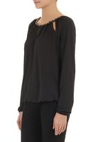 edit - Chain-detail blouse Black