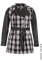 STYLE REPUBLIC - Trench coat with pleather sleeves Black/White