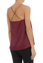 Glamorous - Woven satin top Red