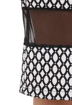 STYLE REPUBLIC - Pencil skirt with mesh inset Black/White