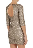 Marianne Schnell - Sequined mini dress with three quarter sleeves Gold