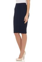 London Hub - Cable-knitted pencil skirt Navy