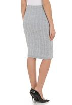 London Hub - Cable-knitted pencil skirt Grey