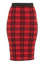 London Hub - Tartan check pencil skirt Red