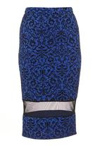 STYLE REPUBLIC - Pencil skirt with mesh inset Black/Blue