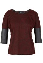 c(inch) - Pleather inset tee  Red