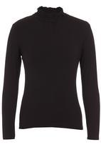 edit - Frill turtleneck blouse Black