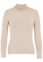 edit - Frill turtleneck blouse Stone/Beige