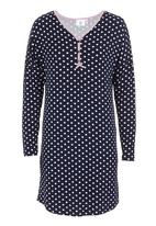 edge - Long-sleeve nightie with loop button binding  Blue/White